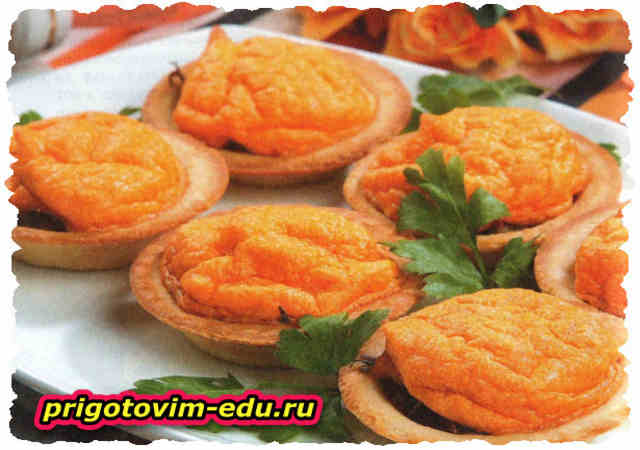 Тарталетки с рыбой и суфле