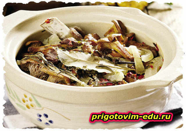 Жаркое из свинины с грибами в горшочке