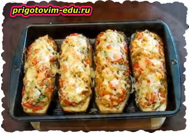 Баклажаны фаршированные рисом с курицей