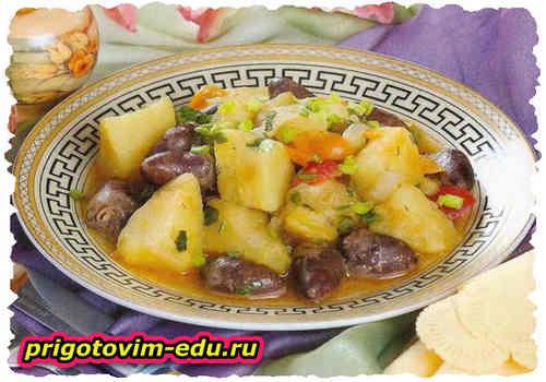 Картофель, тушенный с куриными сердечками в СВЧ - печи
