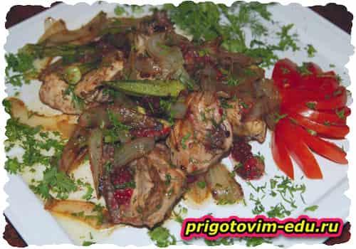 Мошабуйр тапака - цыпленок с бамией и ежевикой (Армянская кухня)