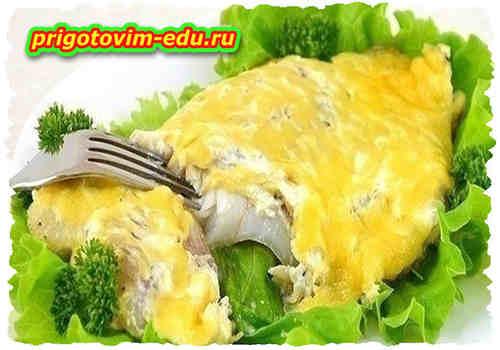 Филе палтуса обжаренное в яйцах
