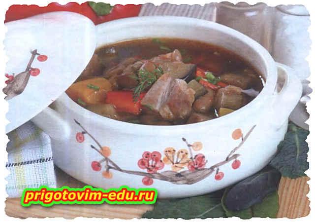 Овощной суп со свининой в горшочке