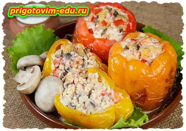 Перцы, фаршированные картофелем и грибами