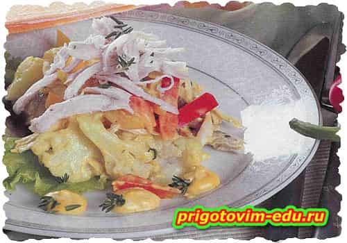Салат из курицы с грибами и цветной капустой