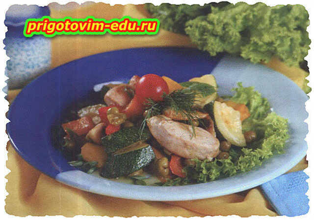 Теплый салат со свининой и шампиньонами