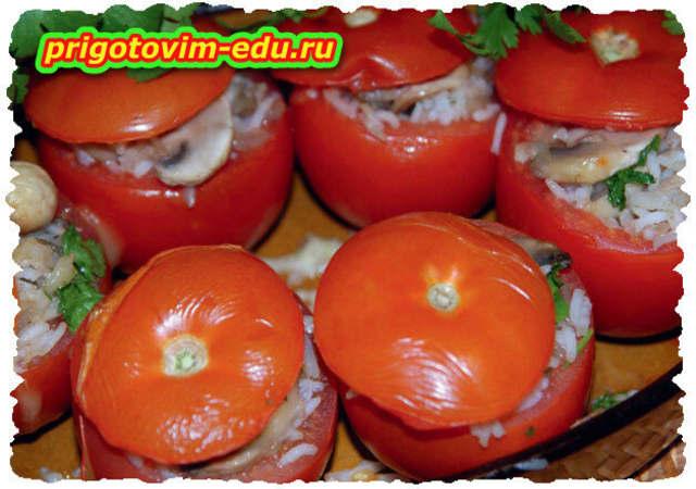 Толма из помидоров с грибами и рисом
