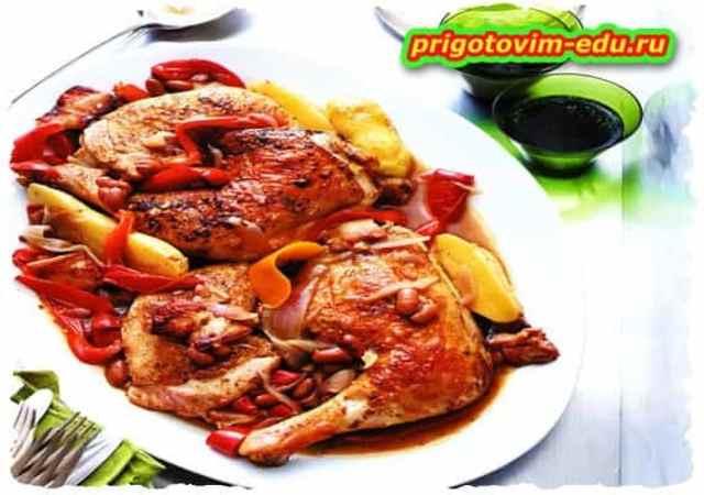 Курица тушеная с фасолью по-испански