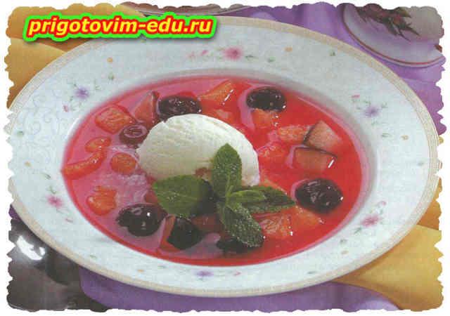 Цитрусовый суп с вишней и белым вином