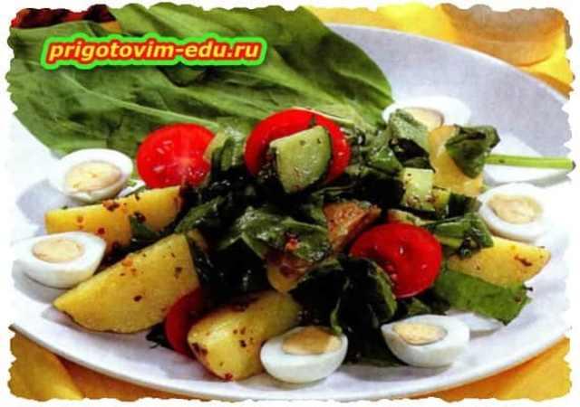 Салат с молодым картофелем, овощами и перепелиными яйцами картинки