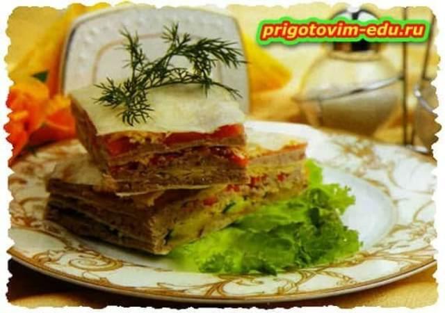 Закуска с мясным паштетом в лаваше