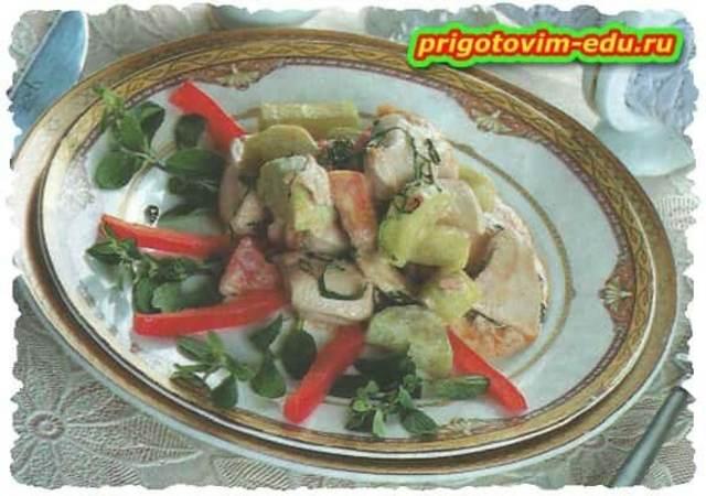 Индейка тушенная с овощами