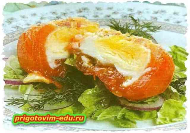 Помидоры запеченные с яйцом