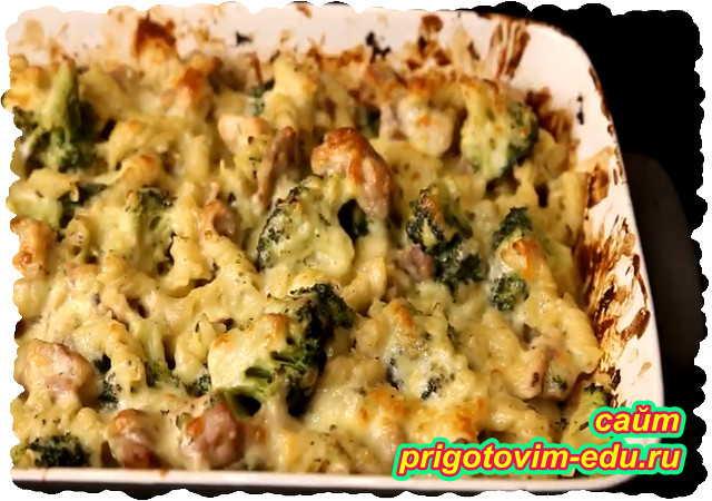 Лазанья из макарон с брокколи и фаршем