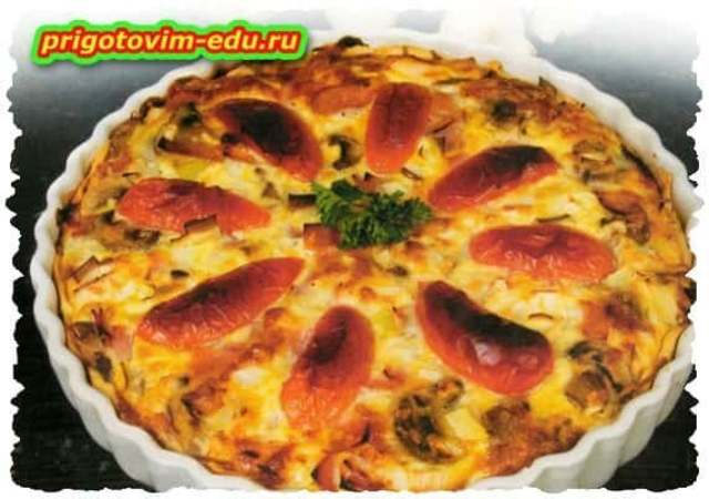 Пирог с грибами и сосисками