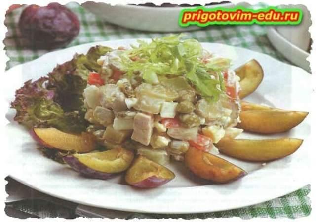 Салат из кролика со сливами по-старорусский