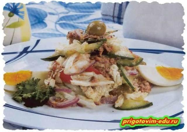 Салат из яиц с рыбой
