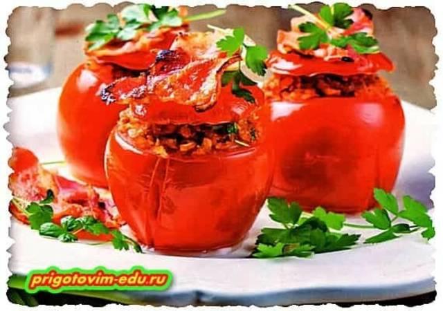 Запеченные помидоры фаршированные кабачками