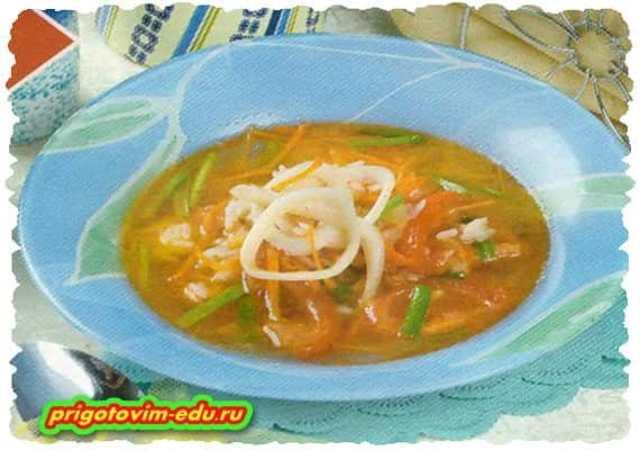 Суп из консервированной скумбрии с кальмарами