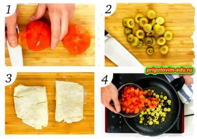 жаренная рыба с помидорами и оливками