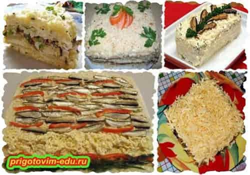 Закусочный торт со шпротами