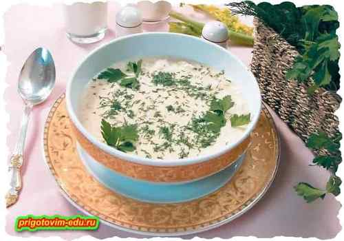 Суп с творогом и щавелем