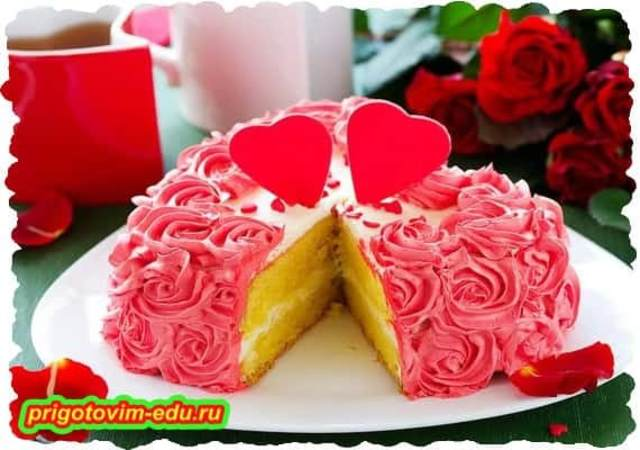 Бисквитный Торт «Цветущие розы»