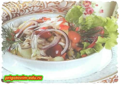 Картофельный салат с грибами (2 варианта)