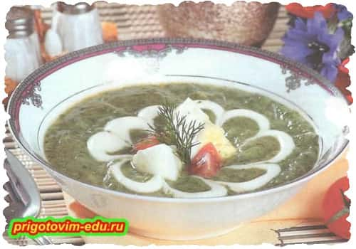 Картофельный суп со сливками и шпинатом