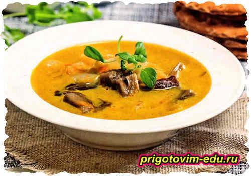 Грибной суп-пюре с грецкими орехами