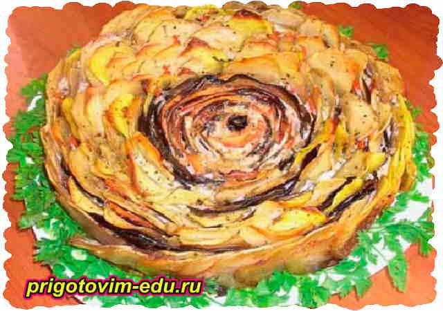 Картофельная запеканка с баклажанами