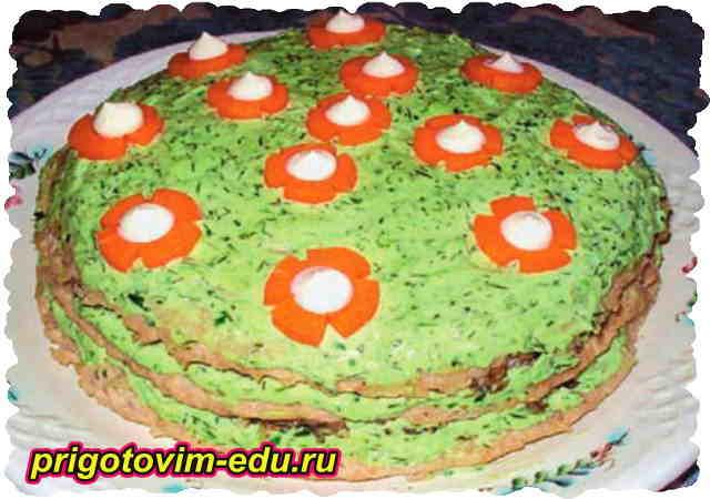 Мясной торт с грибами и сыром