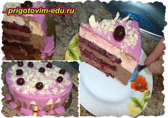 Муссовый торт с шоколадом, творогом и вишней. Видео
