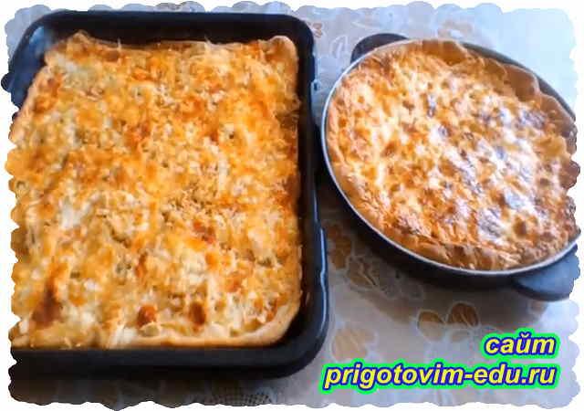 Пицца с курицей и сыром. Видео рецепт
