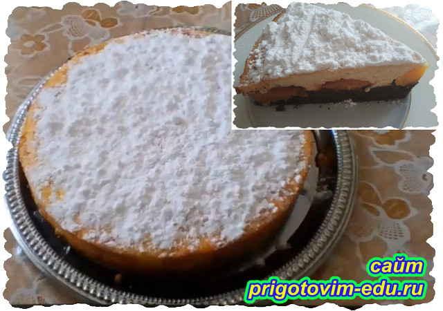 Творожный пирог с персиками. Видео рецепт