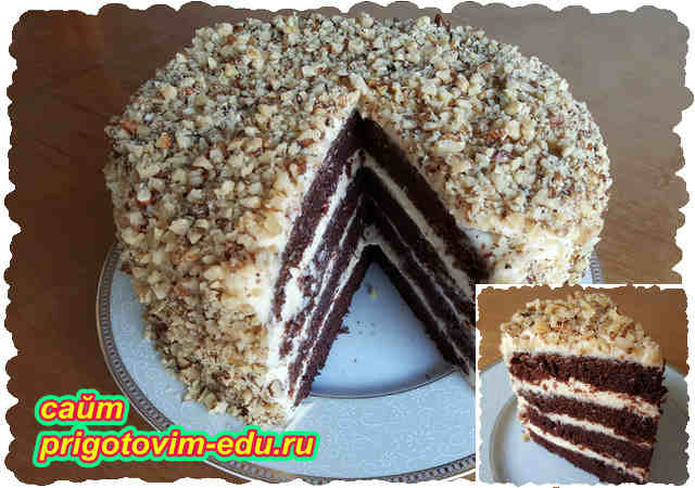 """Шоколадный бисквитный торт с кремом """"Пломбир"""""""