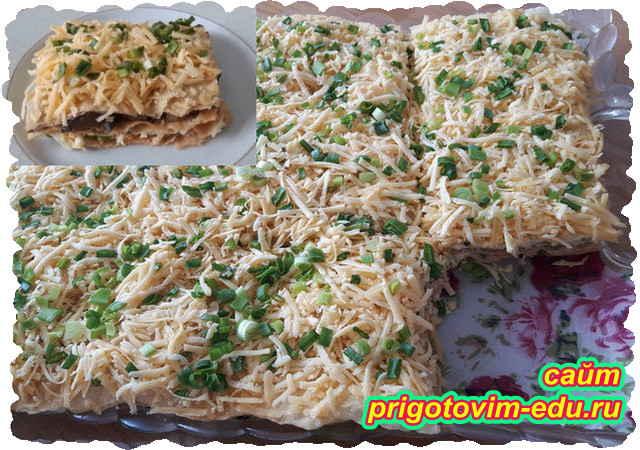 Вкусный слоёный торт с грибами и сыром