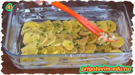 Рецепт приготовления рыбы запеченной в духовке с картофелем под сыром 4