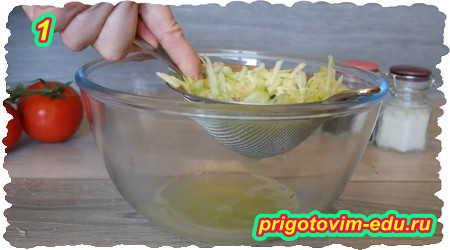 Как приготовить пиццу из кабачков с ветчиной и помидорами на сковороде 1