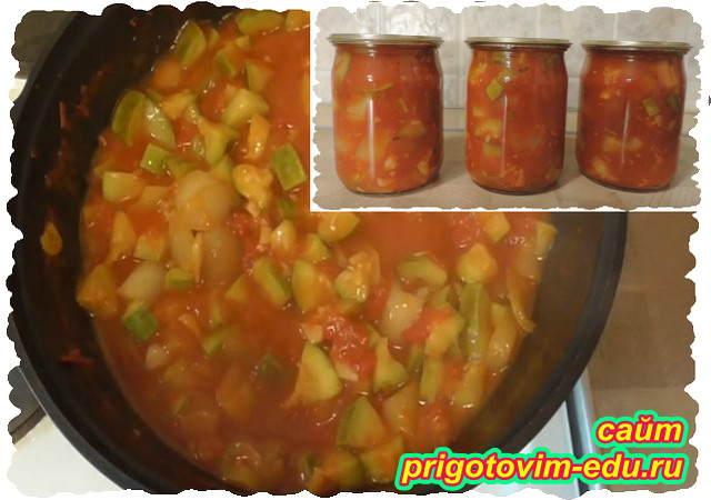 Лечо из кабачков на зиму в томатной пасте