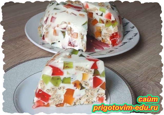Торт битое стекло со сметаной и крекерами