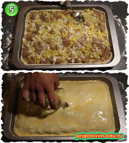 Рецепт курник с курицей и картошкой из теста на кефире