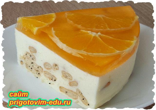 Желейный торт с апельсином без выпечки