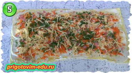Рецепт рулет из лаваша с морковью по-корейски, ветчиной и сыром