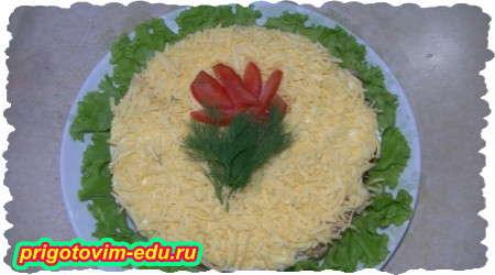 Как приготовить слоеный салат из курицы с помидорами