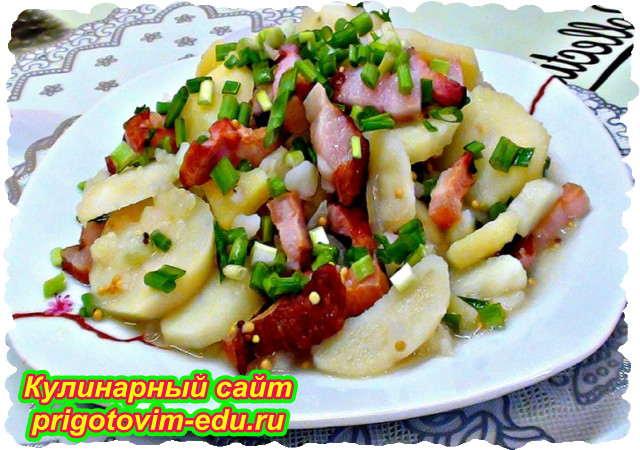 Картофельный салат с беконом без майонеза