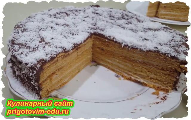 Слоеный торт с заварными коржами