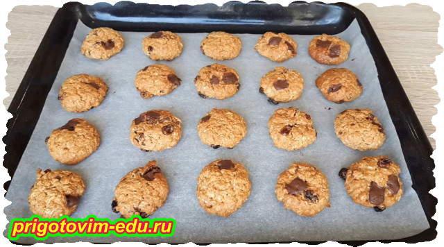 Печенье из овсяных хлопьев с изюмом и шоколадом
