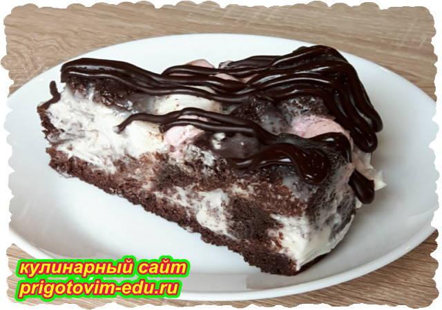 Шоколадный торт со сметанным кремом и зефиром. Видео рецепт