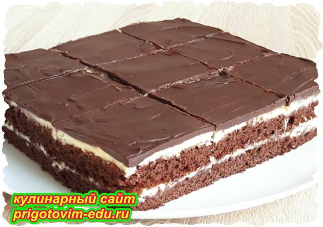 Бисквитный слоеный торт в шоколадной глазури